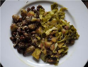 Un repas santé hivernal provenant du jardin et du caveau.